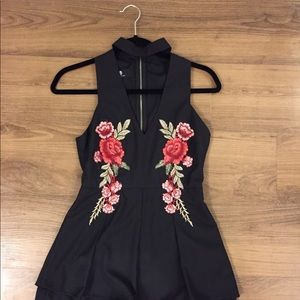 Black Romper with Embroidered Roses
